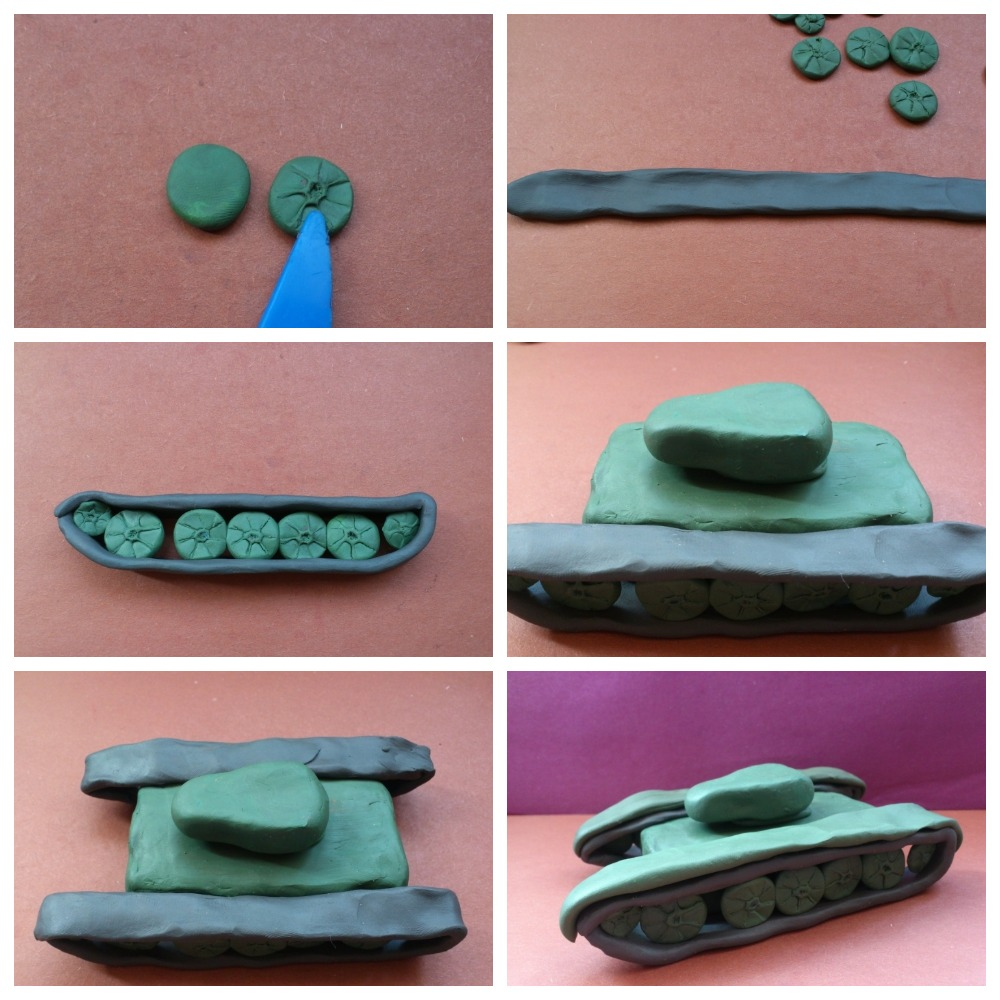 Пошаговые уроки для детей по лепке танка Т34 и других моделей из пластилина